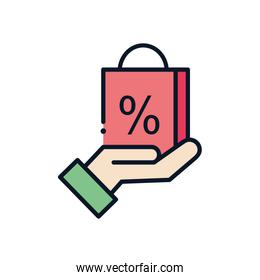 sale bag over hand line fill style icon vector design