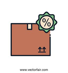 Isolated delivery box and sale stamp line fill style icon vector design