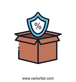 Isolated delivery box and sale shield line fill style icon vector design