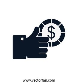 Isolated hand holding coin silhouette style icon vector design