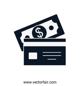 Isolated bill and credit card silhouette style icon vector design