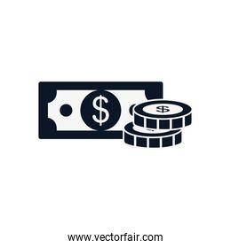 Isolated bill and coins silhouette style icon vector design