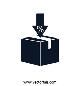Isolated delivery box and sale arrow silhouette style icon vector design