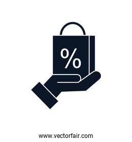 sale bag over hand silhouette style icon vector design