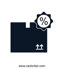 Isolated delivery box and sale stamp silhouette style icon vector design