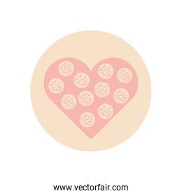 Isolated heart with striped circles flat block style icon vector design