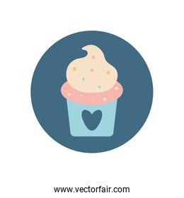Isolated cupcake with heart flat block style icon vector design