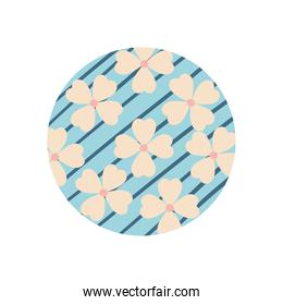 Isolated flowers with lines flat block style icon vector design