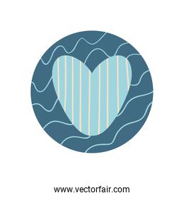 Isolated heart with lines flat block style icon vector design