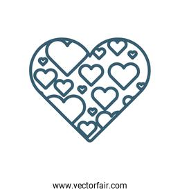 Isolated hearts line style icon vector design