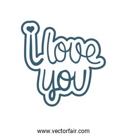 Isolated i love you text line style icon vector design