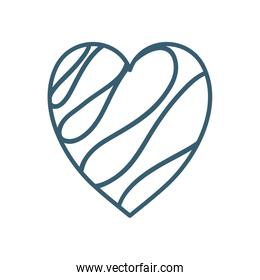 Isolated heart with lines line style icon vector design
