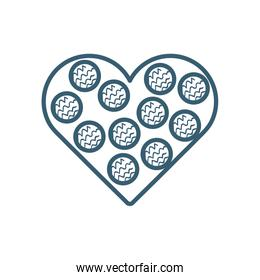 Isolated heart with striped circles line style icon vector design