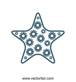 Isolated star with flowers line style icon vector design