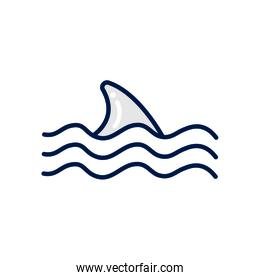 Isolated shark fin fill style icon vector design