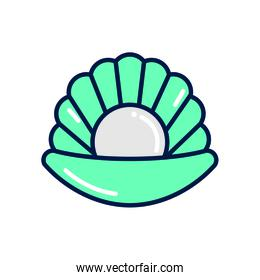 Isolated oyster with pearl fill style icon vector design