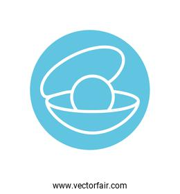 Isolated oyster with pearl line block style icon vector design