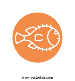 Isolated fish line block style icon vector design