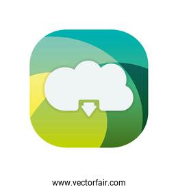 Isolated cloud computing block flat style icon vector design