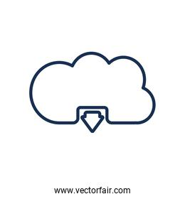 Isolated cloud computing line style icon vector design