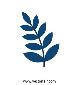 blue color branch with leafs plant icon