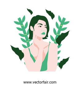 beuty woman with underwear and tropical leafs plants