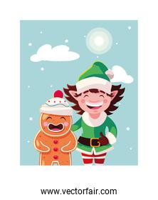 gingerbread man and elf with hat in winter landscape