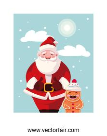 santa claus with gingerbread man in winter landscape