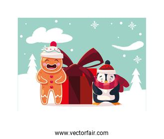 penguin and gingerbread man with gift box in winter landscape