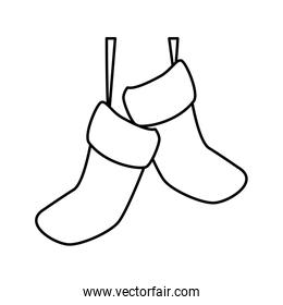 Isolated santas boots vector design