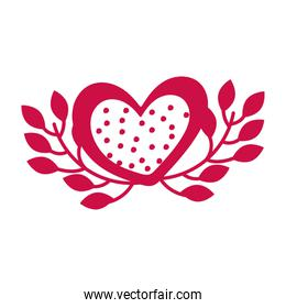 heart with a plant isolated icon desing