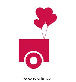 romantic car with heart balloon isolated icon