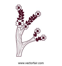 branch with flowers desing isolated