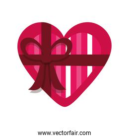 heart with a gift bow isolated icon desing