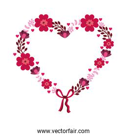 flowers heart isolated icon desing
