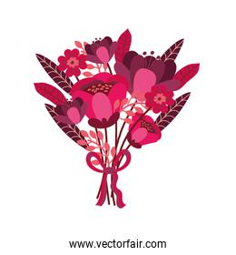 romantic flowers bouquet isolated icon desing