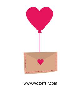romantic envelope with a heart balloon isolated icon