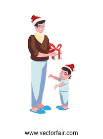 Father and son with santas hat vector design