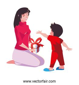 Mother and son with gift vector design