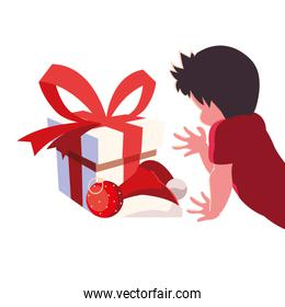 Kid with christmas gift vector design