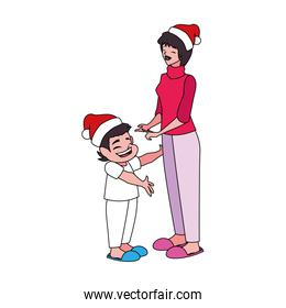 Mother and son with santas hat vector design