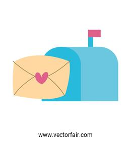 envelope mail with heart love in mailbox