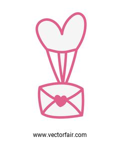 envelope mail with heart love in balloon helium