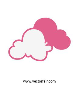 pink clouds sky drawn isolated icon