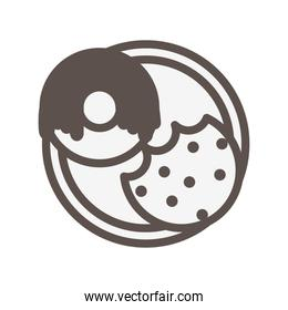 sweet cookie pastry product isolated icon