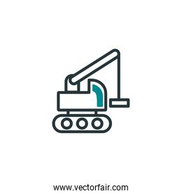 Isolated construction crane truck icon fill vector design