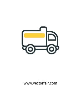 Isolated construction truck icon fill vector design