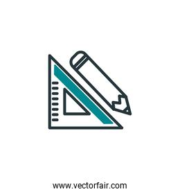 Isolated pencil and ruler fill vector design