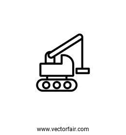 Isolated construction crane truck icon line vector design
