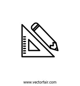 Isolated pencil and ruler line vector design